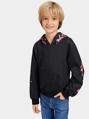 Toddler Boy Sweatshirt - Floral Print Kangaroo Pocket Hoodie