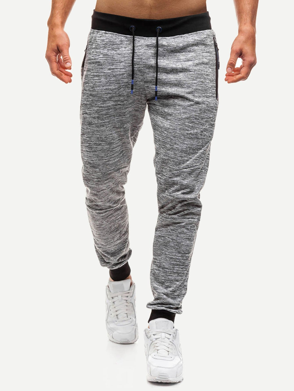 Men's Joggers - Space Dye Zipper & Drawstring Detail Pants