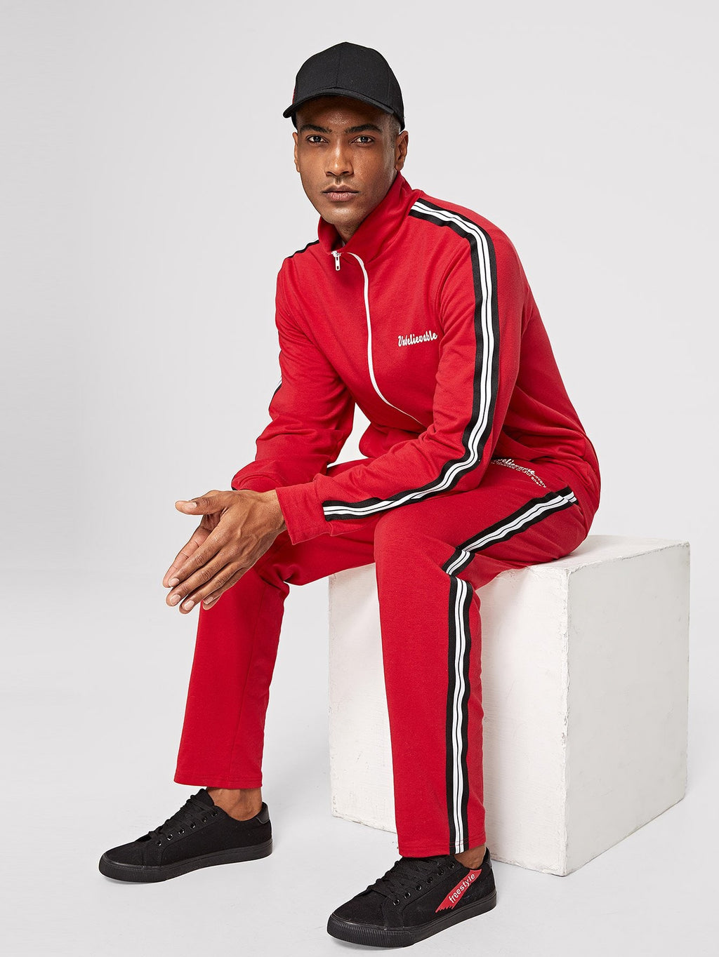 Men's Tracksuit - Striped Trim Sweatshirt & Pants Set