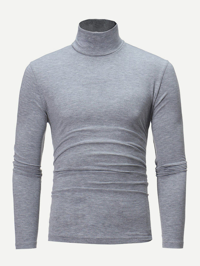 Men's T-Shirts - High Neck Solid Tee
