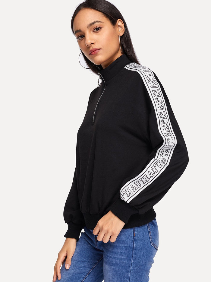 Workout Clothes for Women - O-Ring Zip Half Placket Sweatshirt