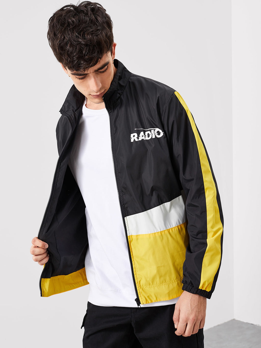 Workout Jackets - Men Zip Up Color Block Windbreaker Jacket