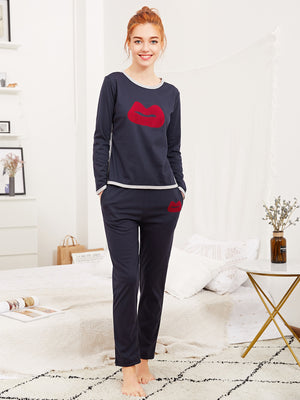 Pajama Set - Lip Print Tee & Pants