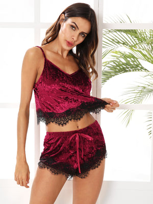 Nighty - Eyelash Lace Hem Cami Top & Shorts Pajama Set