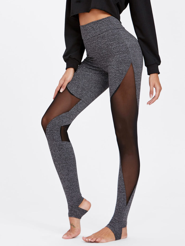 Leggings For Women - Mesh Insert Heathered Knit Stirrup Leggings