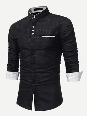 Men's Formal Shirts - Men Grid Collar Button Up Shirt
