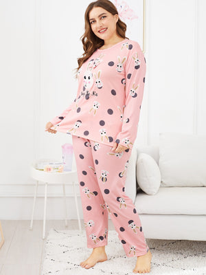 Plus Rabbit Print Polka Dot Pajama Set
