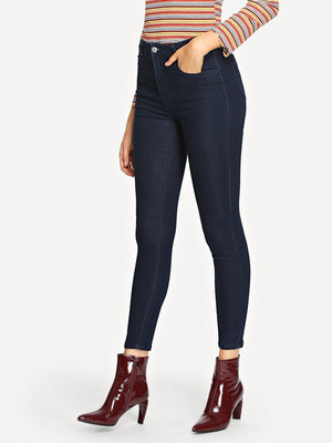 Skinny Jeans - Solid Skinny Ankle Jeans