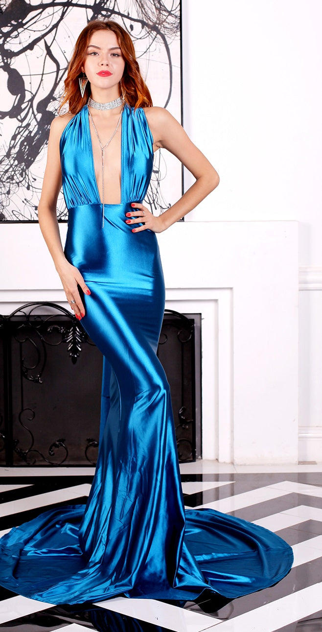 Glossy Blue Satin Evening Gown
