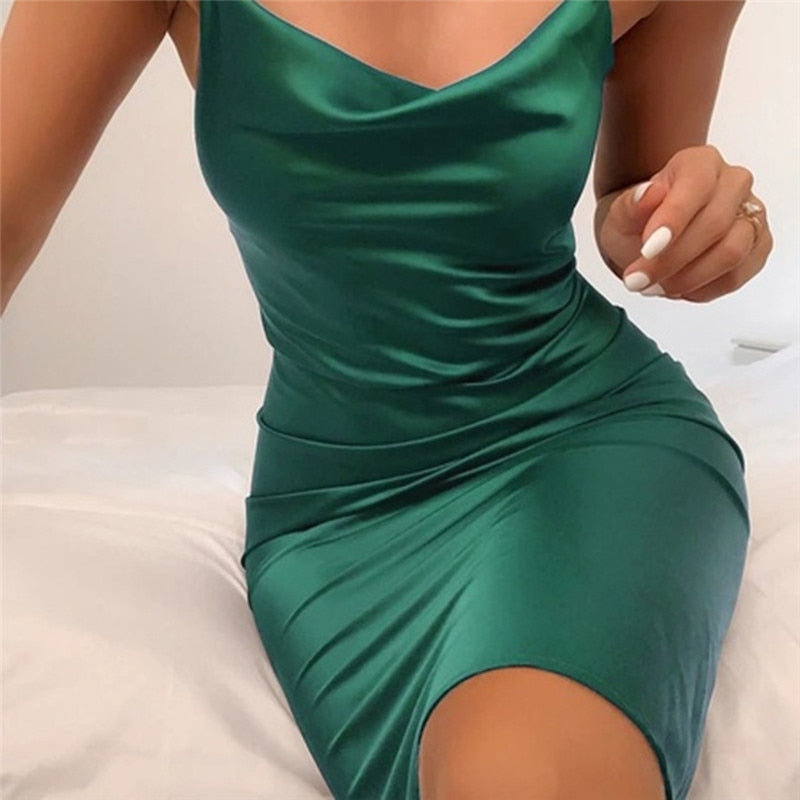 Satin Lace Up Summer Women Bodycon Long Midi Dress Sleeveless Backless Elegant Party Outfits Sexy Club Clothes Vestido