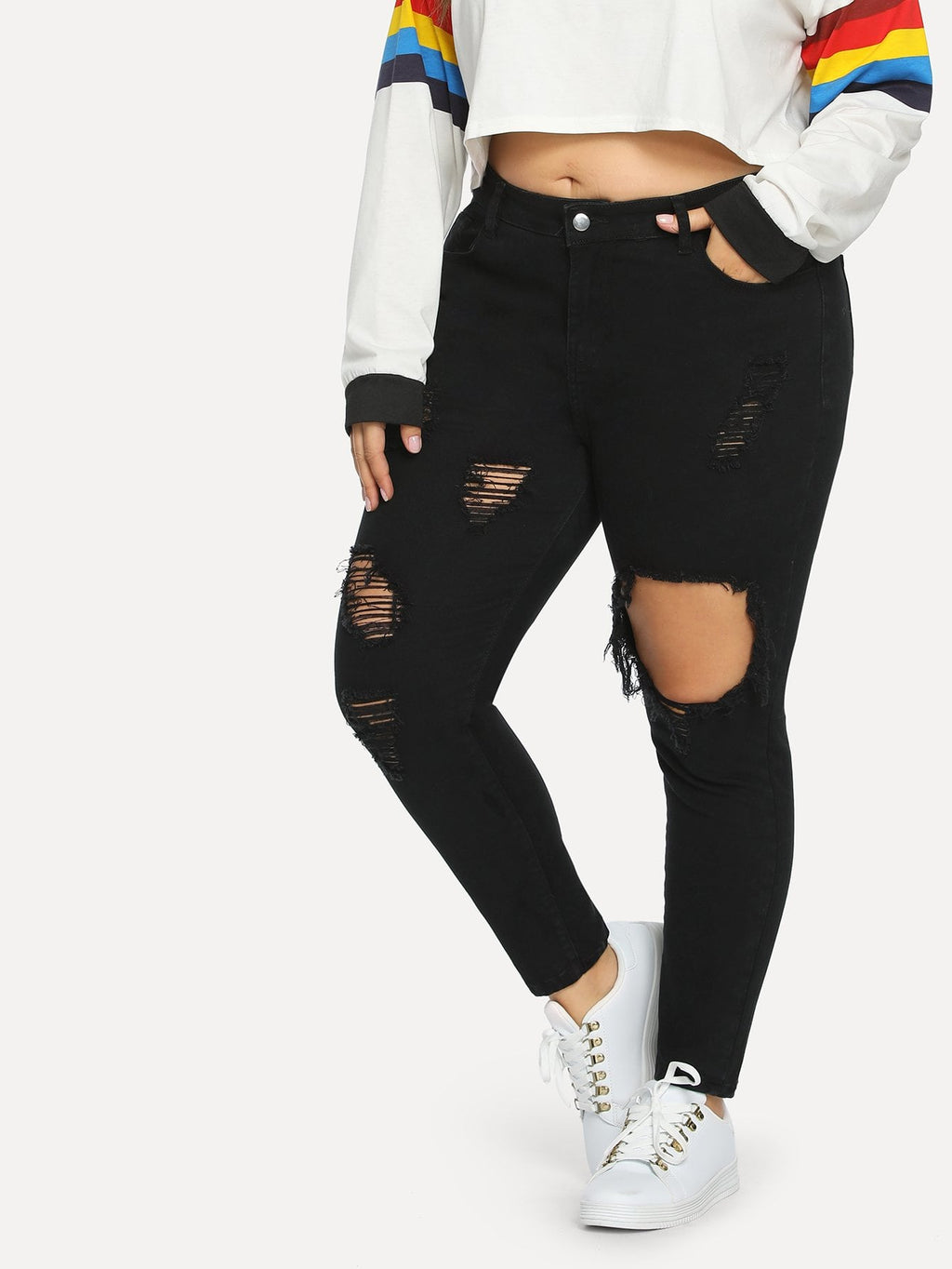 Plus Size Jeans - Ripped Solid Skinny Jeans
