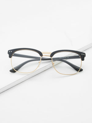 Glasses For Women - Black Open Frame Gold Trim Glasses