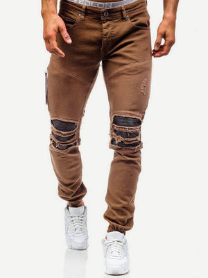 Ripped Jeans - Men Ripped & Zipper Detail Jeans
