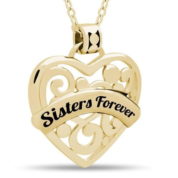 "Sister Heart Necklace,  925 Silver, 14K Gold Plated Necklace Engraved w ""Sisters Forever"""