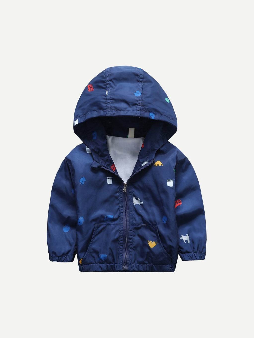 Toddler Boy Jackets - Car Print Hooded Jacket