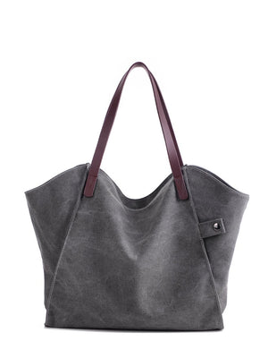 Work Bags - Minimalist Tote Bag With PU Handle