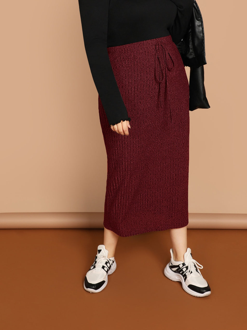 Plus Size Midi Skirts - Maroon Drawstring Waist Rib-knit Pencil Skirt