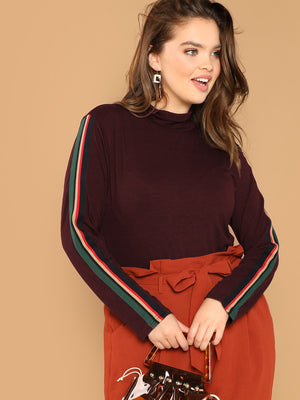 Plus Size Tops -Mock-neck Striped Sleeve Top