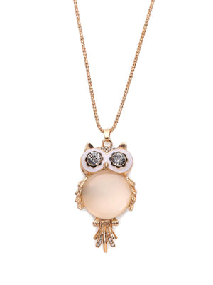 Necklace Pendants - Cymophane Owl Shaped Pendant Necklace