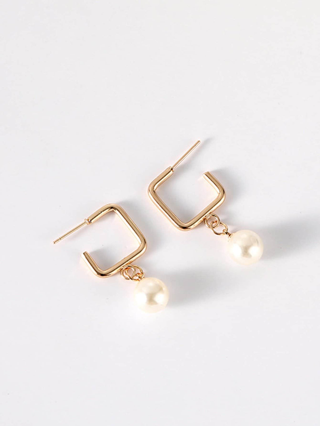 Ladies Earrings For Women - Faux Pearl Detail Square Drop Earrings