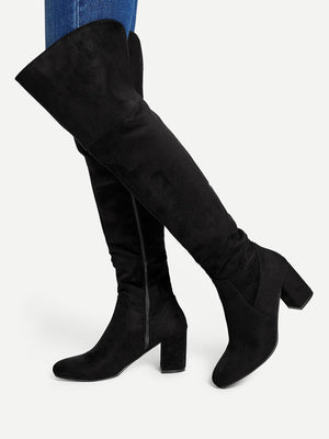 Women Boots - Block Heeled Thigh High Suede Boots