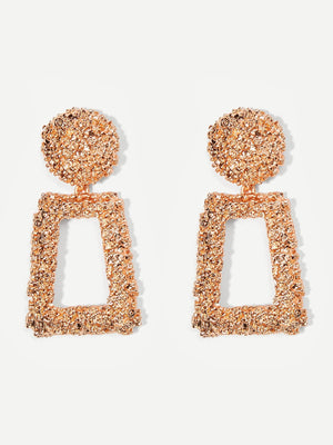 Earrings - Open Rectangle Textured Drop Earrings