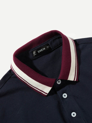 Men's Tops - Striped Trim Polo Shirt