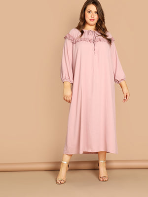 Plus Tie Neck Lace Trim Night Dress