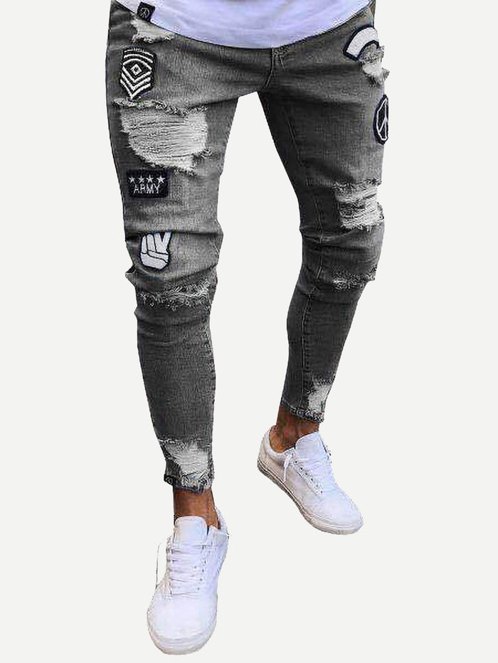Pants For Men - Patched Ripped Tapered Jeans