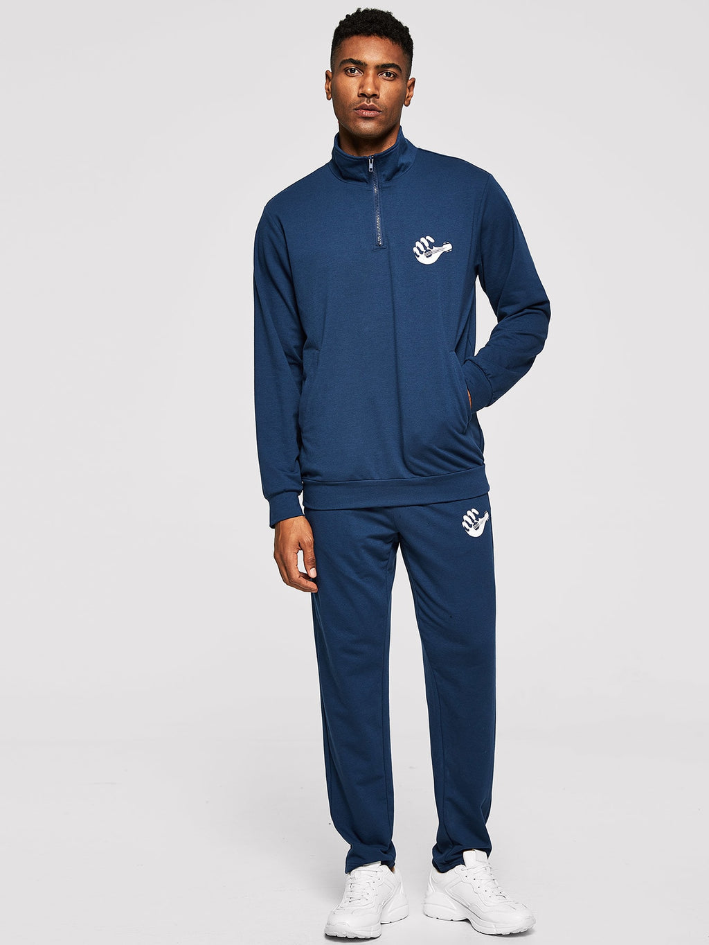 Men's Tracksuit - Zip Half Placket Pullover & Pants Set