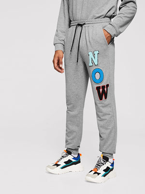 Men's Tracksuit - Letter Tunic Top & Elastic Waist Pants Set