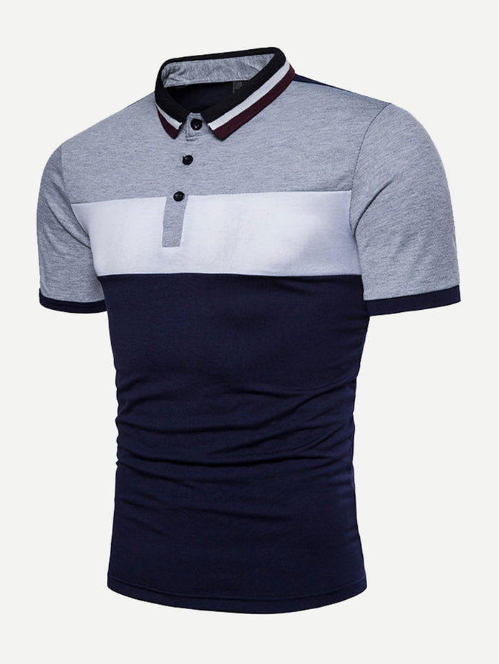 Men's Polo Shirts - Cut And Sew Panel Polo Shirt