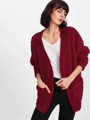 Coats For Women - Faux Fur Open Front Teddy Coat