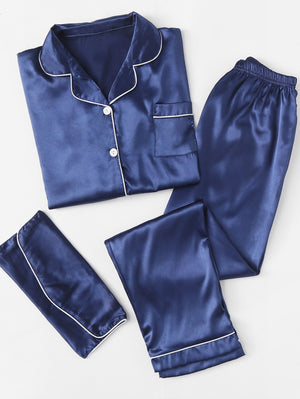 Women's Nightwear - Contrast Binding Satin Pajama Set With Wallet
