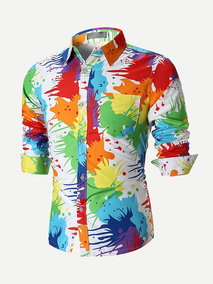 Holiday Shirts For Men - Graffiti Print Shirt