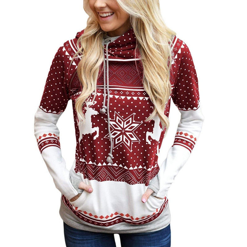 Christmas Pattern Print Finger Pocket Hoodies