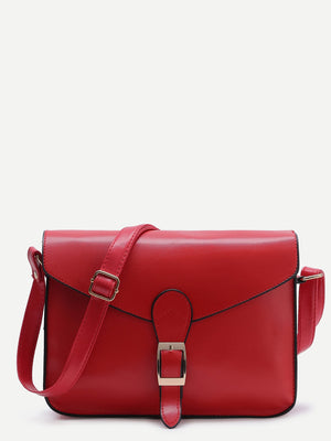 Purse For Women - Contrast Trim Buckled Flap Bag