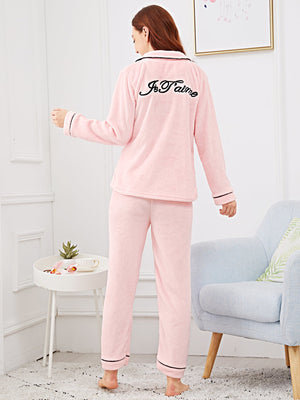 Pajama Set - Letter Embroidered Plush