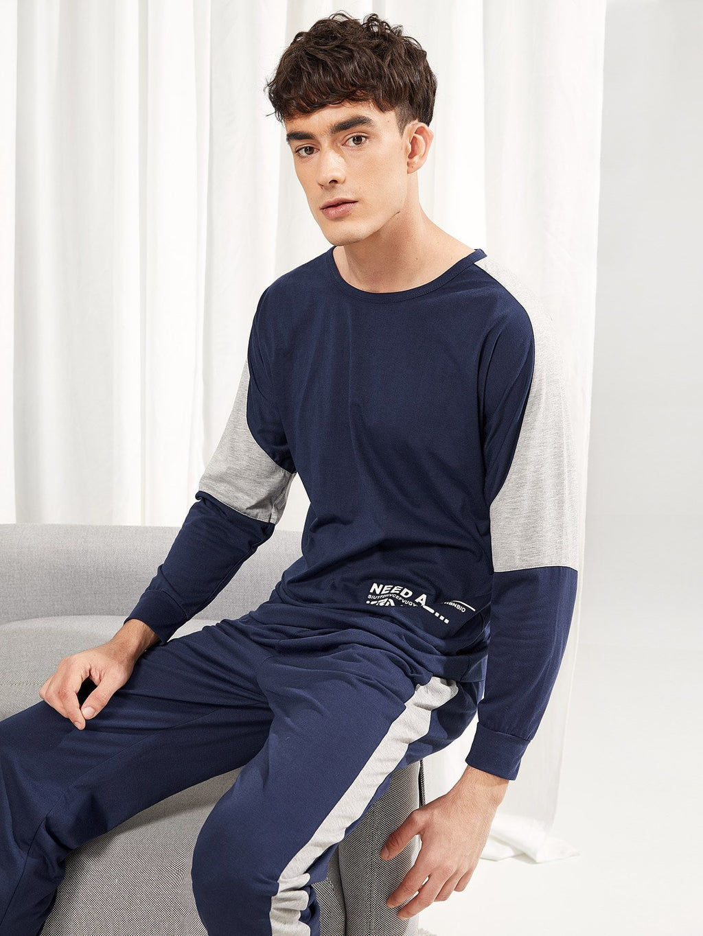 Men's Pajamas - Letter Print Pajama Set