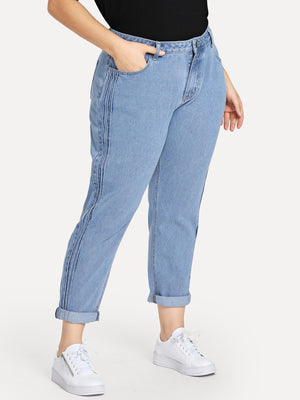 Plus Size Jeans - Stitch Line Side Jeans