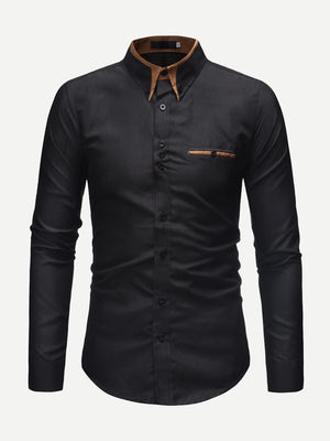 Men's Formal Shirts - Men Contrast Neck Long Sleeve Shirt