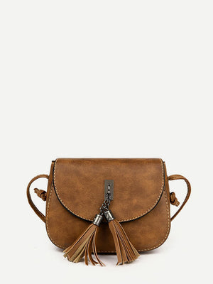 Women's Purse - Double Tassel Flap PU Crossbody Bag