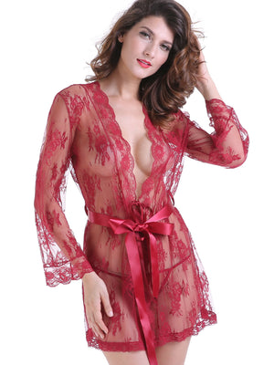 Kimono Robe - Floral Lace Satin Belt Robe Set