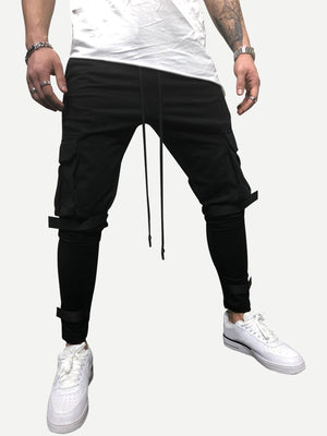 Sports Tights For Men - Pocket Side Drawstring Waist Solid Pants