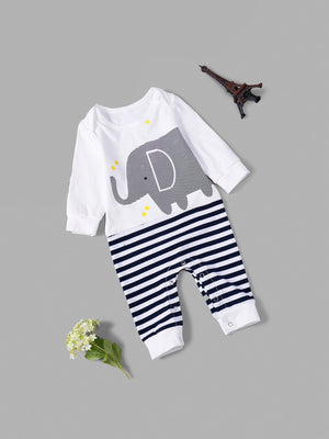 Toddler Boy Jumpsuits - Elephant Print Striped Jumpsuit