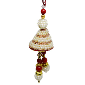 Ladies Rakhi Online - Red And White Pearl