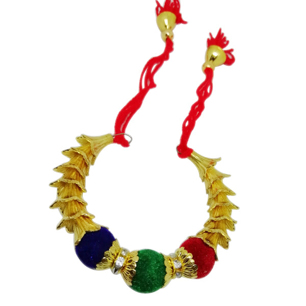Fancy Lumba Rakhi - Geen and Blue Beads Rakhi For Girls