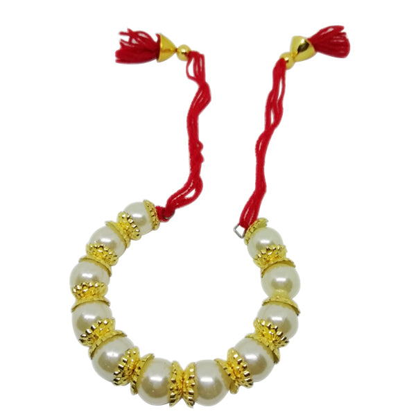 Lumba Rakhi - White Pearl Rakhi For Girls