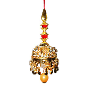 Lumba Rakhi - Golden Beads and American Diamond