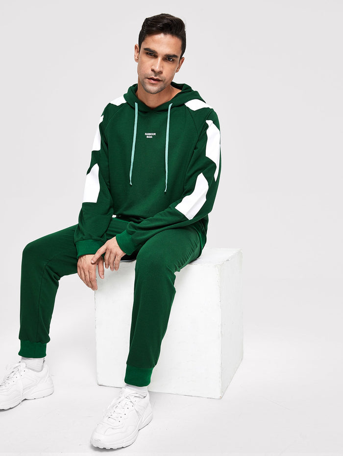Men's Tracksuit - Color Block Hoodie & Pants Co-Ord